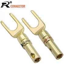 10 adet/grup Y U tipi muz fiş konektörü altın kaplama maça hoparlör muz fiş ses vida lehimsiz çatal konektörü