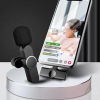 Micrófono Lavalier inalámbrico portátil, Mini micrófono de grabación de Audio y vídeo para iPhone, Android, transmisión en vivo, teléfono para videojuegos