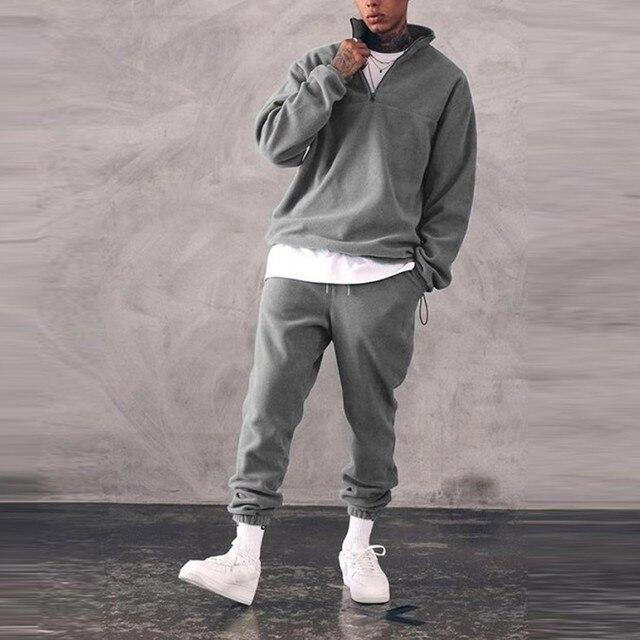 Sweatshirts Set Men Winter Warm Fashion 2021 Men's Jogger Tracksuit Solid Stand Collar Sweatshirt Casual 2 Pieces Sports Suits 3