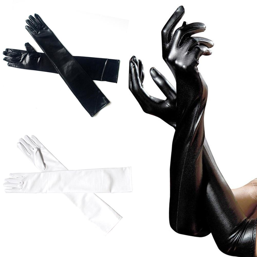 Black White Sexy Long Glove For Women Exotic Appeal Gloves Leather Gloves Clubwear Catsuit Cosplay Costumes Mittens