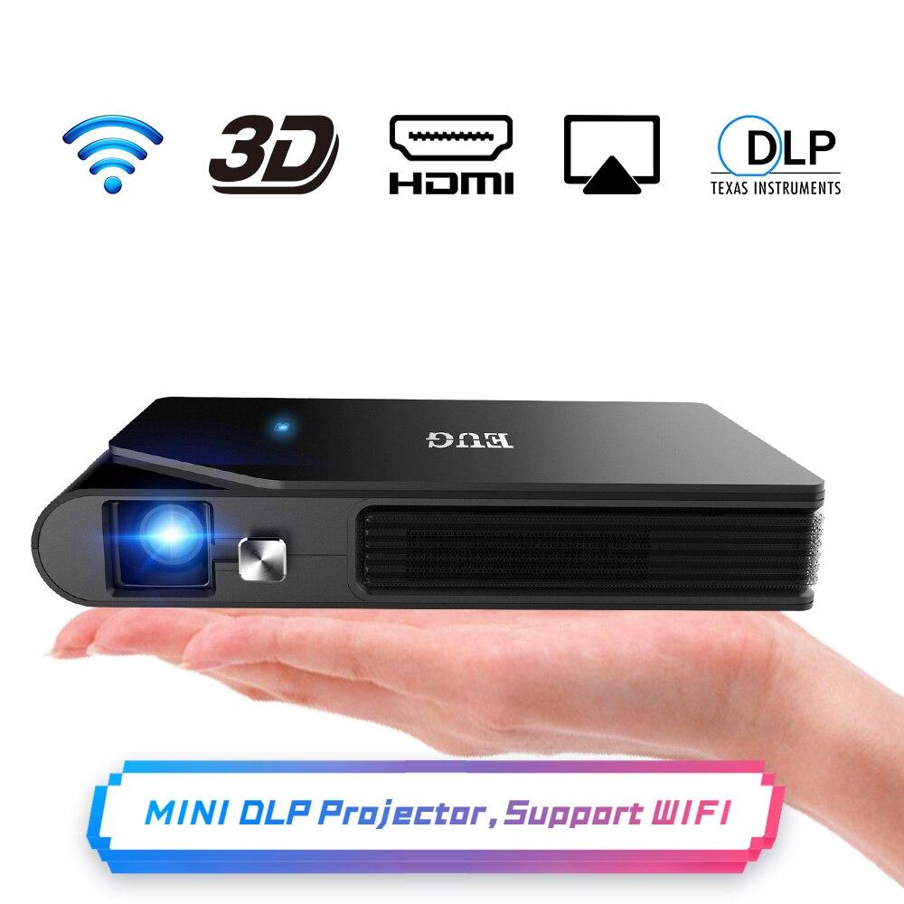 Карманный Wi-Fi проектор Мини HD DLP батарея поддержка 1080P Airplay 3D, маленький беспроводной Портативный Pico светодиодный проектор