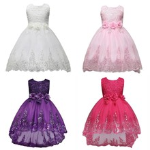 Princess Flower Girl Dresses First Communion Kids Wedding Party Pageant Gown Lace Sequin Flower Sleeveless Birthday 2020 real picture 2018 flower girl dresses purple sleeveless 3d applique kids formal wear princess pageant dresses birthday gown