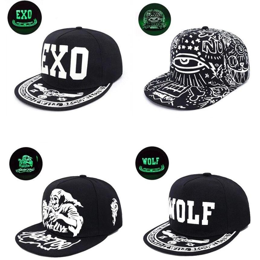 Men And Women Fluorescent Hat EXO Couple Hip Hop Hat Tide Street Dance Hat Luminous Hat Flat Along The Korean Version Of The Fem