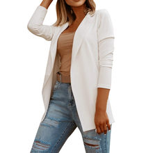 white blazer Women Long Sleeve Coat Female Casual Solid Loose Jacket Ladies Office Wear Coat women autumn Top sastre mujer 2020(China)