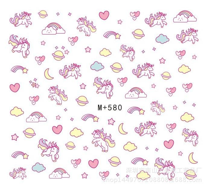 M + 580-588 Japanese Korean New Style Nail Stickers Nail Sticker Unicorn Nail Sticker Plaid Sweater Nail Stickers
