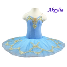 Aqua Blue Professional Ballet Tutu Pancake Classical Performance Stage Competition Ballerina Platter