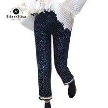 Otoño Invierno Tweed Pantalones Mujer Pantalones rectos moda 2019 alta calidad señoras Pantalones