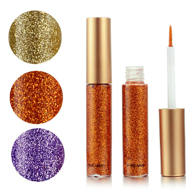 10 Colors Liquid Glitter Eyeliner Women Makeup Waterproof Eye Liner Easy to Wear Pigmented Red White Gold Korean Cosmetics TSLM2