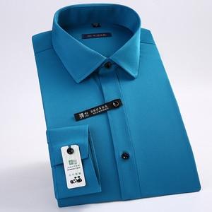 Image 2 - Uitstekende Kwaliteit Lange Mouwen Turn Down Kraag Bamboevezel Elastische Slim Fit Heren Dress Shirts Zonder Voorvak