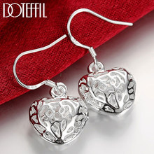 DOTEFFIL – boucles d'oreilles en forme de cœur creux pour femme, bijoux en argent Sterling 925, goutte d'eau, pour fête de fiançailles, mariage, à la mode