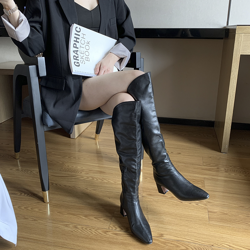 Купить с кэшбэком Genuine Leather Pointed Toe Women's Over The Knee Boots Zipper Solid Color Slim Warm Boots Winter Woman Shoes Botas De Mulher