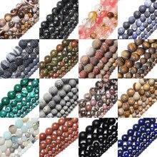 15 pierres naturelles oeil de tigre, morganite, perles rondes pour la fabrication de bijoux, bracelet, Diy, diamètres 4 mm, 6 mm, 8 mm, 10 mm, 12mm