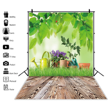 Laeacco Spring Green Grass Potted Flowers Tree Leaves Park Wooden Floor Baby Child Scenic Photo Background Photography Backdrop