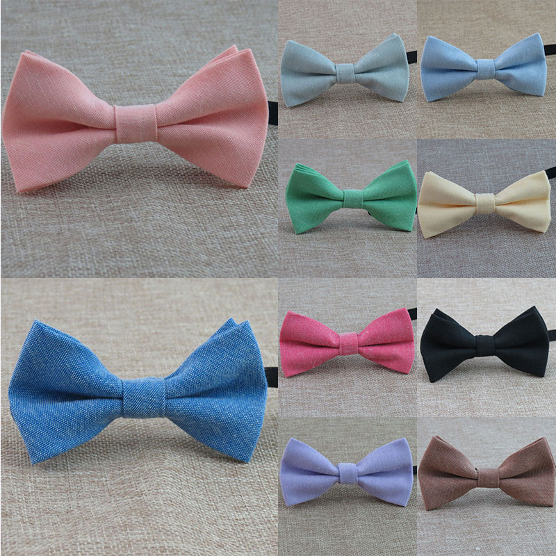 Adjustable Cotton Linen Bow Tie Classic Kids Boy Girl Fashion Candy Color Bowtie Gentleman Party Brand Bow Ties Black Red Pink