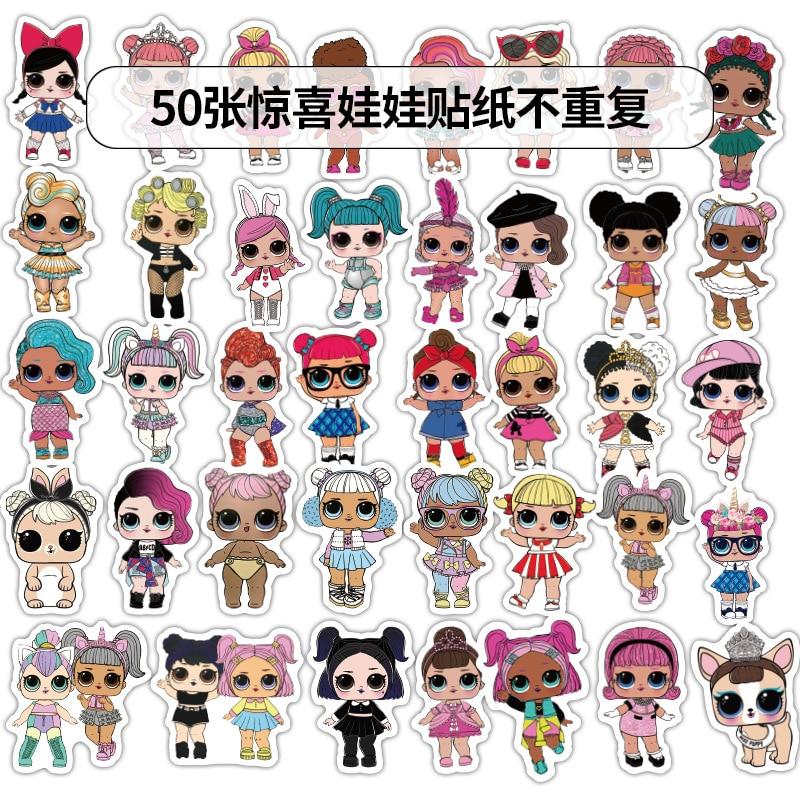 50pcs/set LOL Stickers Personality Lol Doll Stickers Children's PVC Graffiti Stickers Suitcase Car Boot Guitar Waterproof 4-6cm