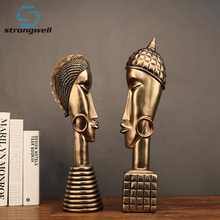 Strongwell Home Decoration Accessories Resin Crafts Vintage Copper African Couple Character Figurines Furnishing Decor Gift