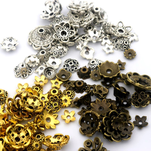 150pcs Mixed Tibetan Antique Silver Color Flower Bead End Caps For Jewelry Making Findings Needlework Diy Accessories Wholesale(China)