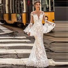 Свадебное платье Русалка verngo бохо с длинными рукавами Элегантное