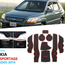 Anti-deslizamento de borracha porta entalhe copo esteira para kia sportage 2005 2006 2007 2008 2009 2010 je km mk2 coaster acessórios do carro adesivos