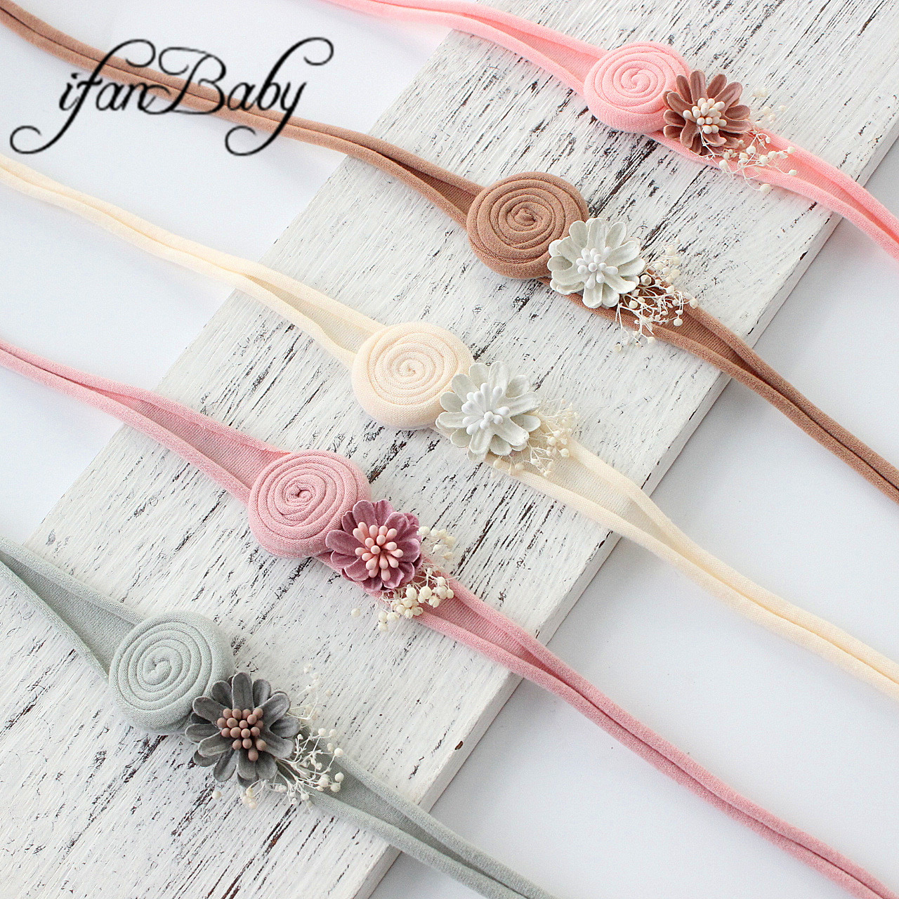 Chic Nylon Flower Headband Burn Fabric Rolled Kids Girl Hair Accessories