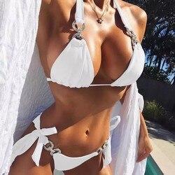 2020 New Bandeau Bikinis Mujer Tanga Women Rhinestone Swimsuit Sexy Brazilian Swimwear Beach Wear Swimming Bathing Suit Maillot