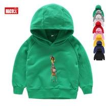 Kids Green Student Hoodies Cartoon Madagascar 100% Cotton Sweatshirts Tops Cute Funny 2T-8T