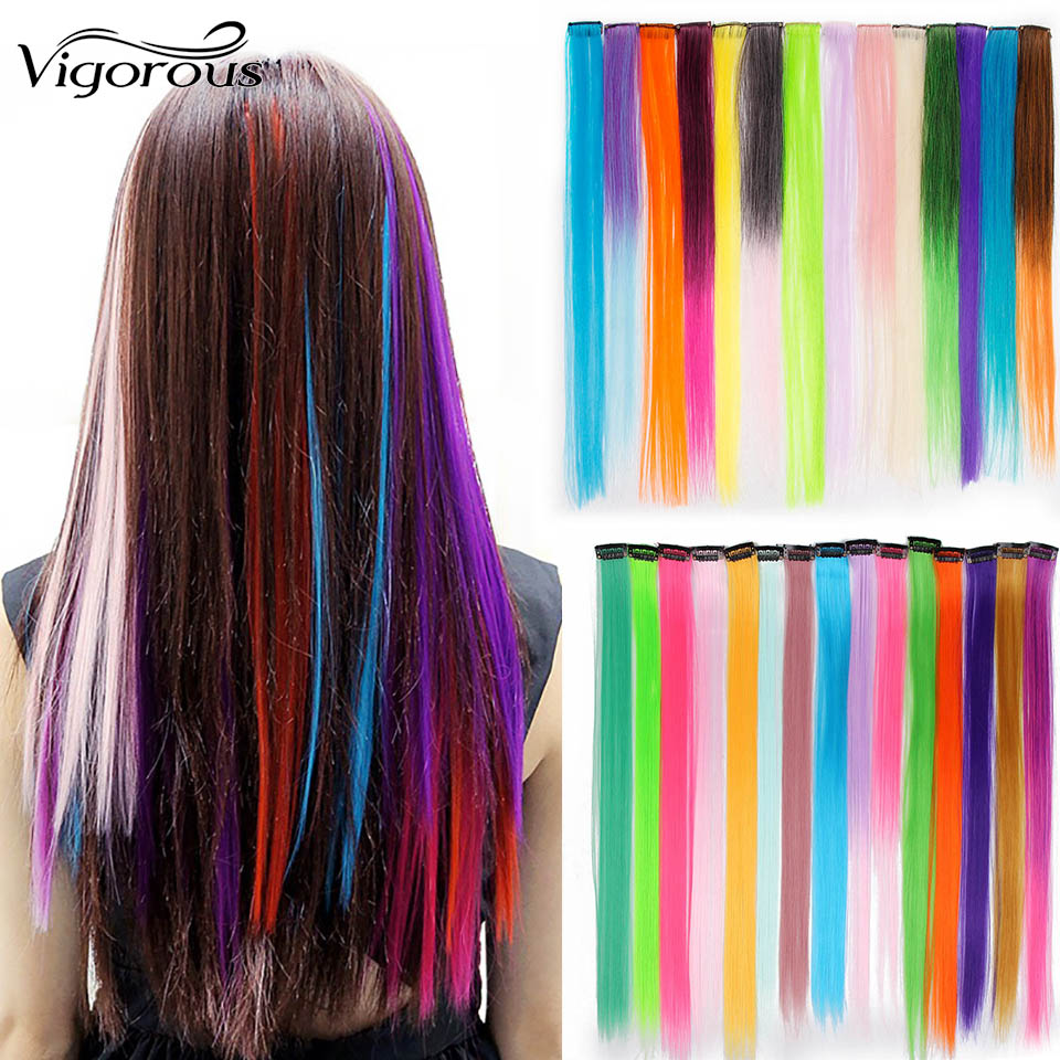 Vigorous Long Colorful Straight Synthetic Punk Style Hair Extension Clip 45 Colors Pink Ombre Green Black Red Yellow