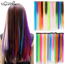 Vigorous Long Colorful Straight Synthetic Punk Style Hair Extension Clip 45 Colors Pink Ombre Green Black Red Yellow(China)