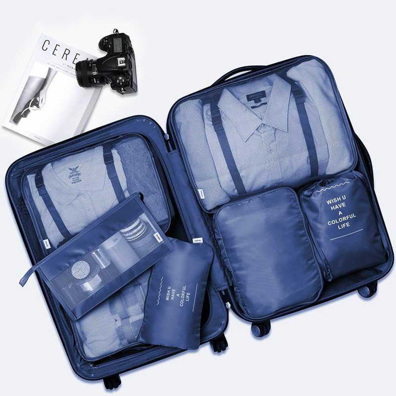 7-Piece Set Sacchetto di Immagazzinaggio di Corsa Per I Vestiti Scarpe Biancheria Intima Organizer Imballaggio Cube Bag Ad Alta Capacità Bagagli Smistamento Bagagli di Viaggio borsa