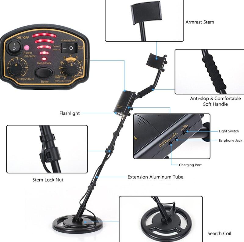 Détecteur de métaux sous-marin souterrain étanche tout or finder ar944m scanner recherche kit de pelle testeur gemme détection profondeur - 5