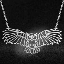100% Real Stainless Steel 40cm Large Night Owl Necklace Fashion Animal Pendant Necklaces Special Gift Super Quality(China)