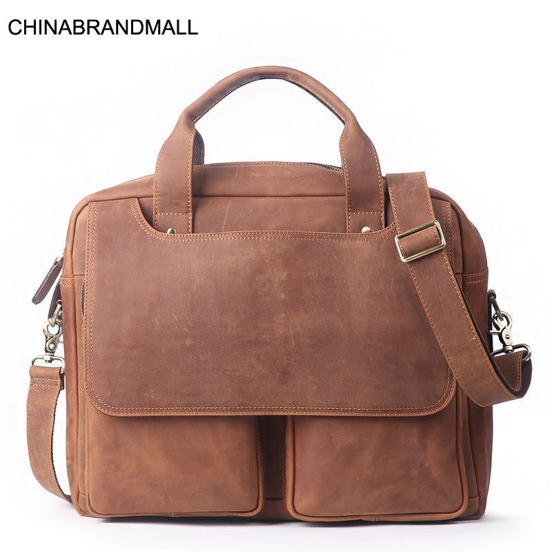 15 Inch Genuine Leather Briefcase Calf Skin Large Capacity Handbag For Men
