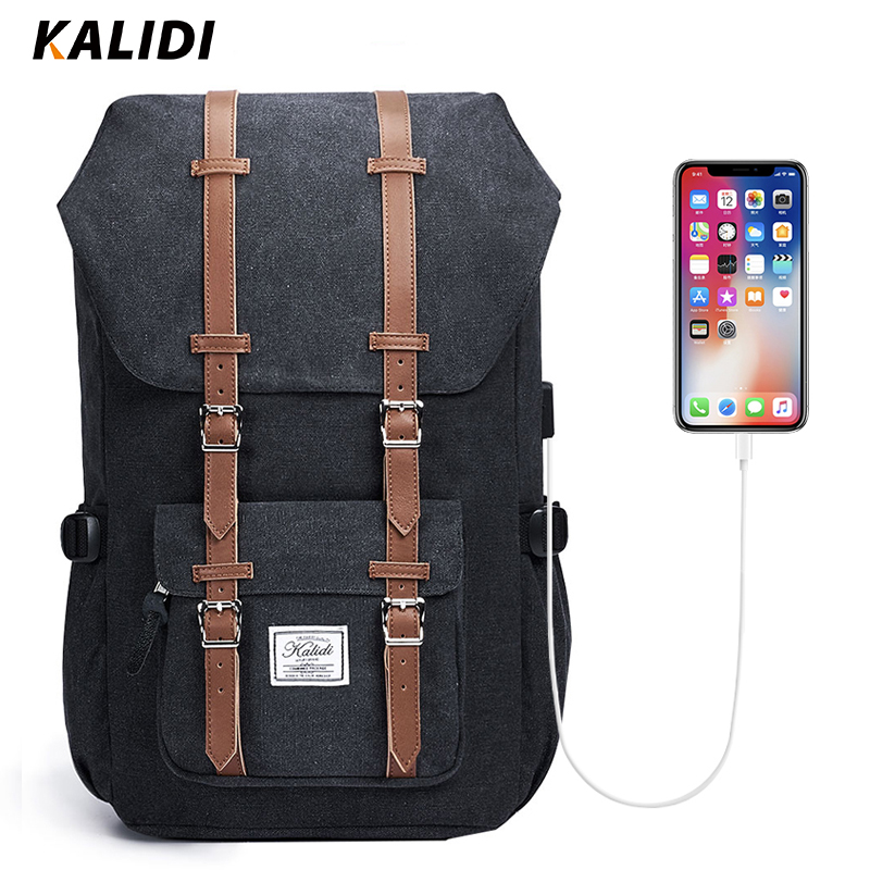 KALIDI Laptop Backpack Trave 15.6 Inch For Teenage School Bag  Casual Men Backpacks 17inch Fashion Daypack Student Men Leather