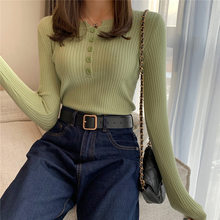 Women's Slim Sweaters Spring Autumn Long Sleeve Thin Ladies Solid Round Neck Jumper Casual Knitted Tops Buttons Female Pullover