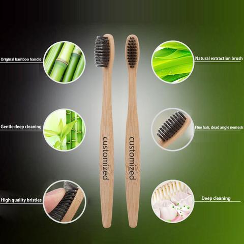 300 pcs logotipo personalizado natural bambu carvao