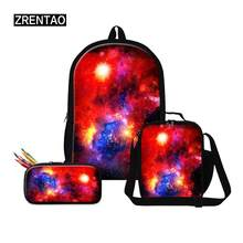 Blue/Black Colorful Galaxy Universe Print Teens Boys Girls School Back Pack Bookbag Sets For Primary/Junior School Teenagers Kid(China)