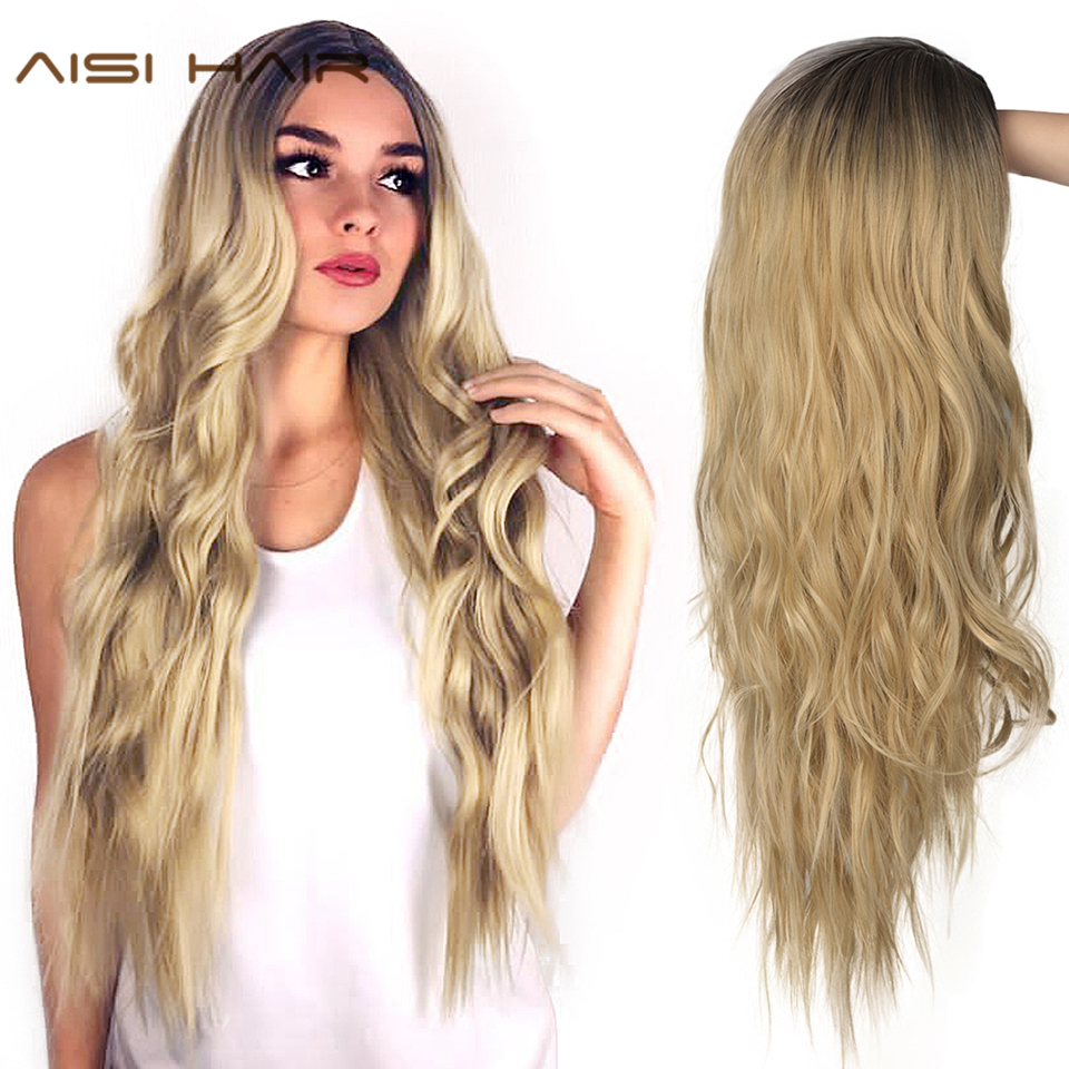 AISI HAIR Long Wavy Ombre Blonde Wig Platinum Blonde Synthetic Wigs For Women 24 Inches Two Tone Natural Middle Part Wig