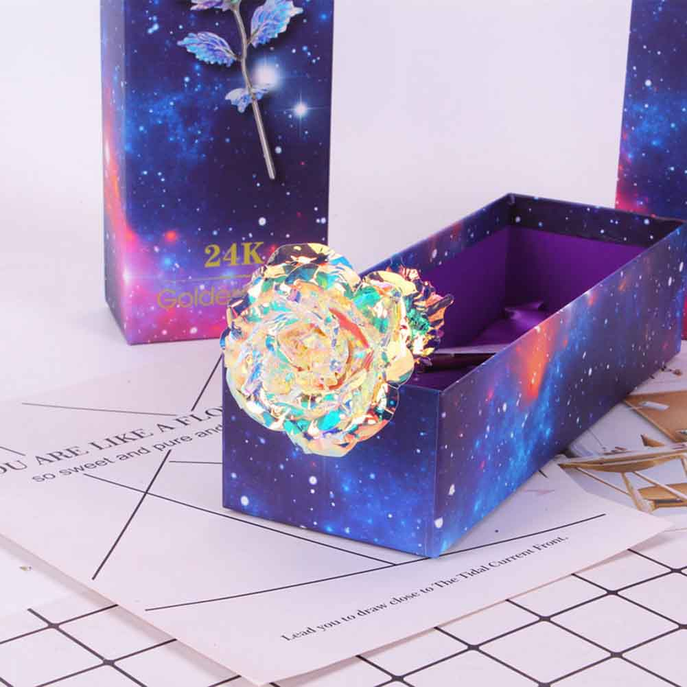 Galaxy Rose Flower Gift Valentine/'s Day Lovers/' Romantic Crystal Roses With Box