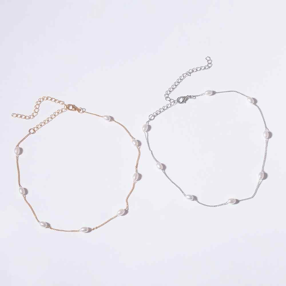 Gotycki seksowny barokowy perłowy koralik Choker naszyjnik Anklet NE + BA oświadczenie koreański długi naszyjnik z łańcuszkiem obojczyk Tiny Girl Jewelry Set