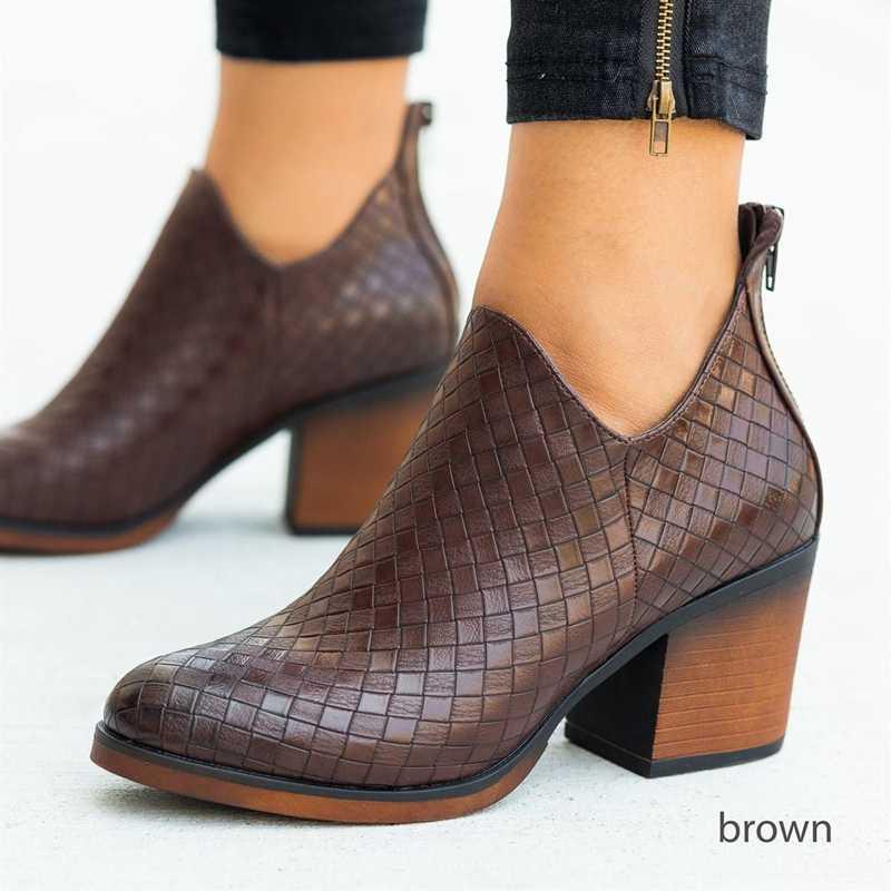 Oeak dokuma botları kadın botları moda sonbahar kış PU kadın yan fermuar çizmeler Vintage 2019 yeni sonbahar bileğe kadar bot Feminina