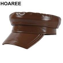 Военные шапки Кепка из лакированной кожи с козырьком Высококачественная