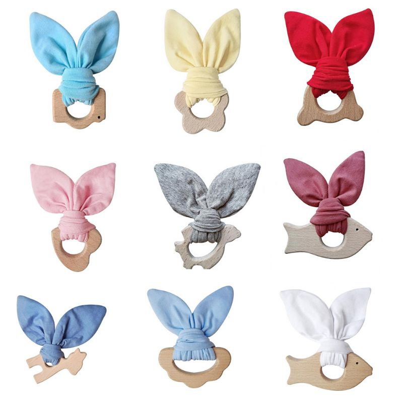 9 Colors Baby Wooden Teether Ring Bunny Ear Animal Chewable Teething Molar Play Gym Toys Handmade DIY Craft Wholesale