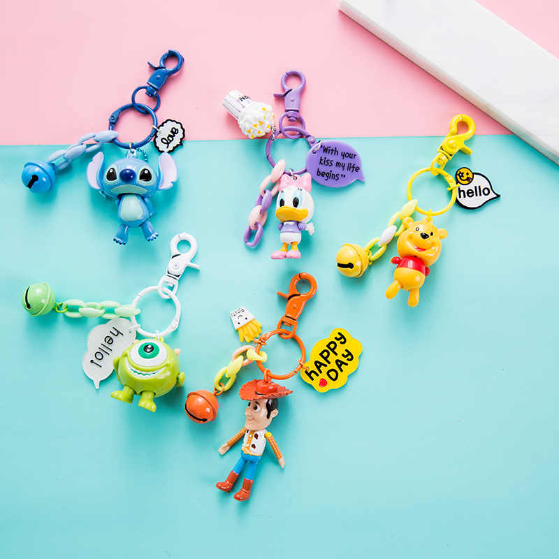 2019 New Key Chain Mickey Stitch Duck Anime Key PVC Chain Figure Morty Cute Toy Keychain Keyring Unisex Birthday Gifts