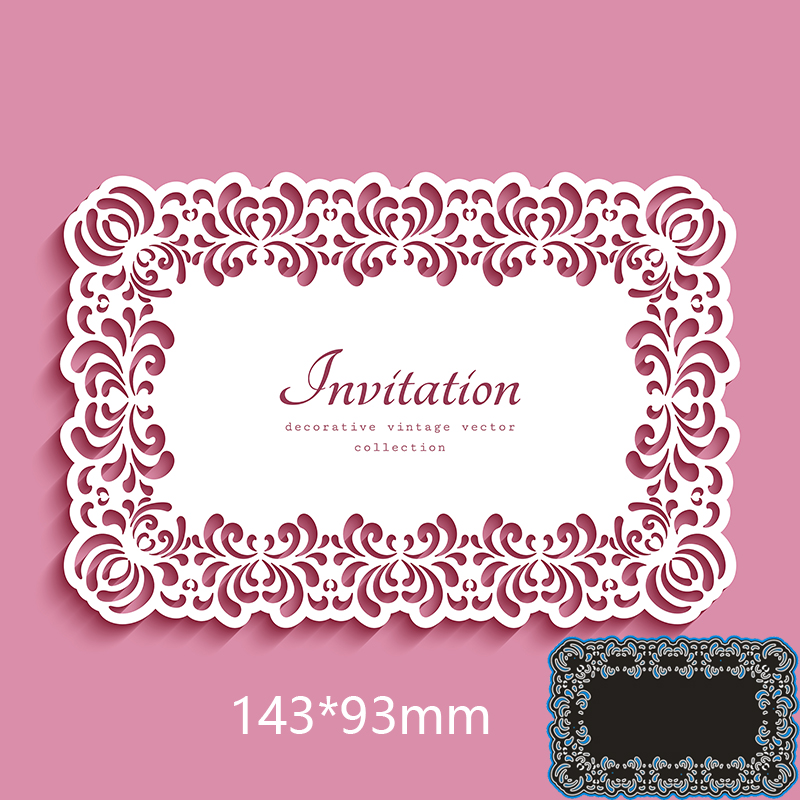 143*93mm Lace Rectangle Invitation New Metal Cutting Dies For Card DIY Scrapbooking Stencil Paper Craft Album Template Dies