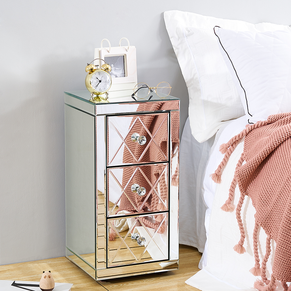 Panana Mirrored Bedside Cabinet/Bedside Table/Chest Of 3 Drawers Bedroom Nightstand 30*30*60CM