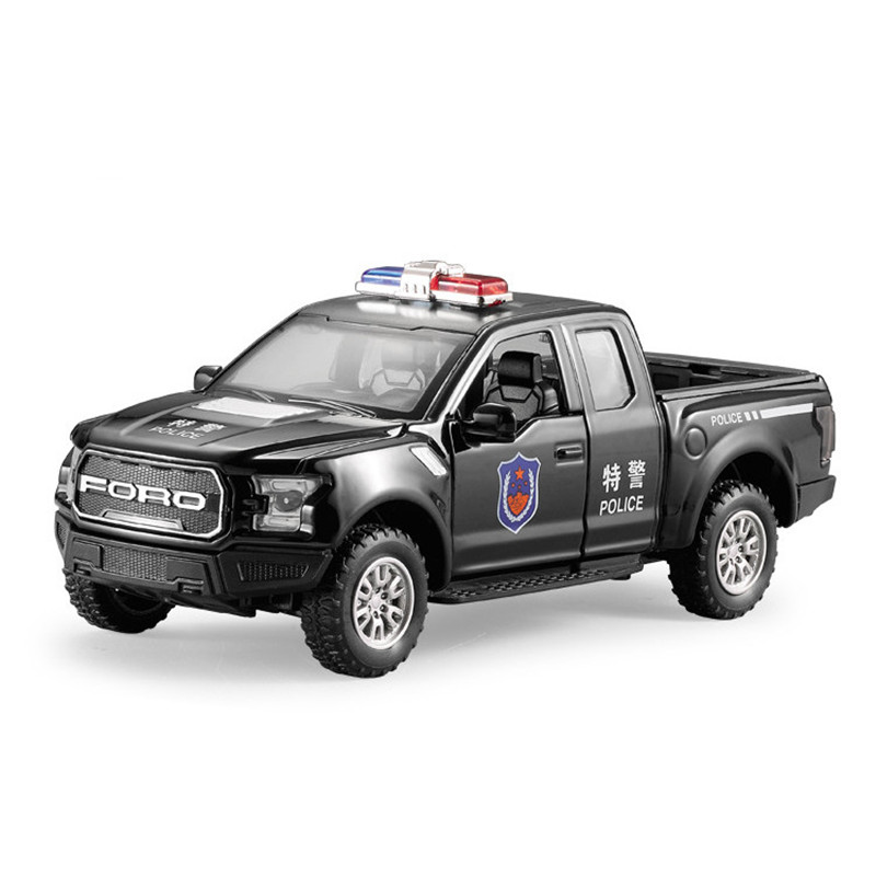 Hot Gift 1:32 Ford F150 Police Pickup Alloy Model,simulation Metal Sound And Light Pull Back,children's Toys,free Shipping