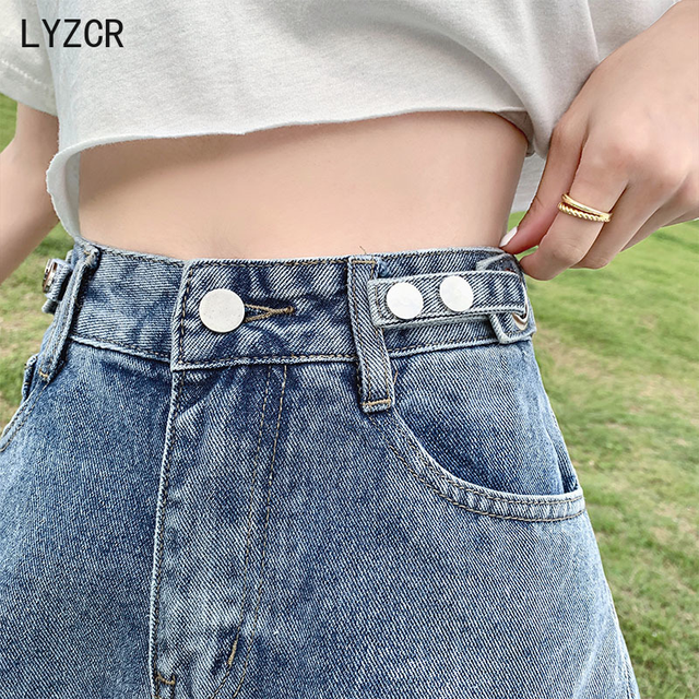 LYZCR Ripped Jeans Shorts Women Summer Loose Denim Wide Leg Shorts For Women with Belt Harem Ladies Jeans Short Causal New 2021 2