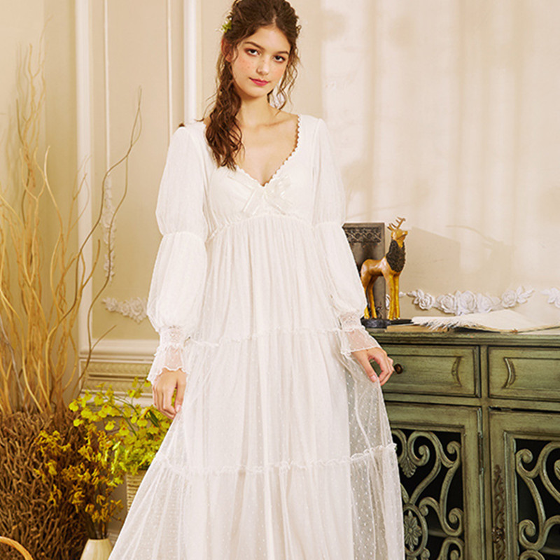 Woman Nightgowns Sleepshirts Long Sleeve Long Dress Sleep & Lounge White Sweet Lovely Nightwear
