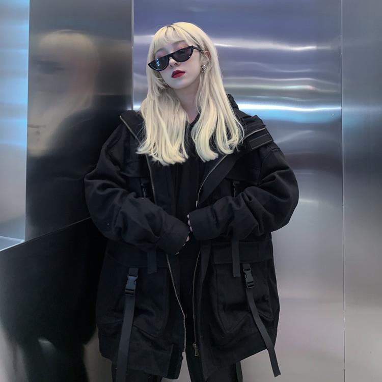 Korean Streetwear Harajuku Black Denim Jacket Women Oversized Pockets Jackets Loose Bf Vintage Casual Coats