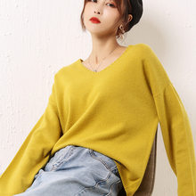 women's cashmere sweaters pullover long sleeve plus size loose Female V neck yellow knitwear 2020 Autumn Winter free shipping(China)